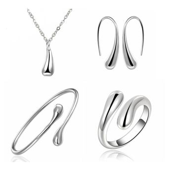 925 Jewelry Sets S222 Silver Water Drop Wedding Bridal Jewelry Set Ring+ Necklace+Bangle+Earrings Women Indian African Jewellery
