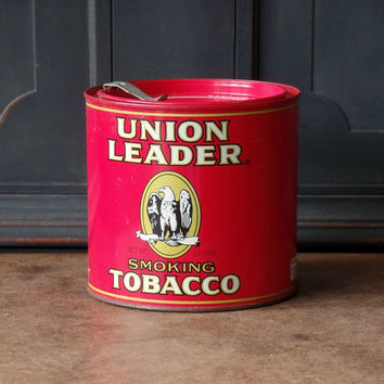 Vintage Tin, Union Leader Tobacco Tin, Red, Advertising, Storage, Collectible, 5 inch