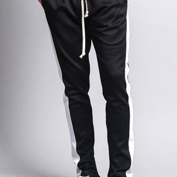 Men's Side Stripe Sleek Track Pants with Zipper SY100