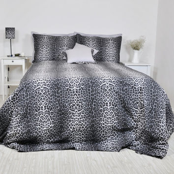 Leopard Bedding Set in Full Queen King Size - Black Smoky Gray Leopard Print Cotton Fabric, 6 pcs Leopard Duvet Cover and Sheet Set