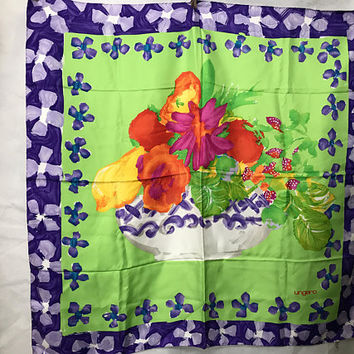 Vtg 70s EMANUEL UNGARO Italian Silk Scarf / Floral Designer Scarf / Flower Basket Bright Green with Purple Border / Pura Seta Made in Italy