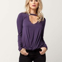 SOCIALITE Knot Front Womens Choker Top   Blouses