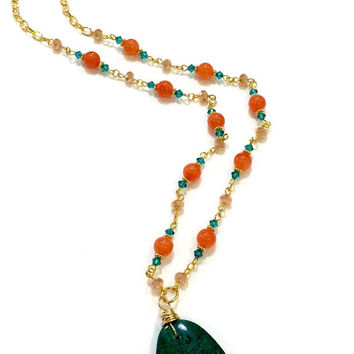Green Pendant Necklace, Orange Bead Necklace, Gold Chain Necklace, Green Crystal Necklace