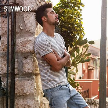 Summer New Striped T Shirt Men Slim Fit Cotton High Quality Clothing Breton Top Tees