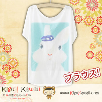 New Rabbit with Hat Fashionable Loose and High Quality Spring and Summer Tshirt Free Size KK556
