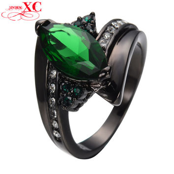 Size 6/7/8/9/10 Emerald CZ Stone Ring Elegant Black Gold Filled Wedding Bands For Couples Fashion Rings For Women and Men RB0406