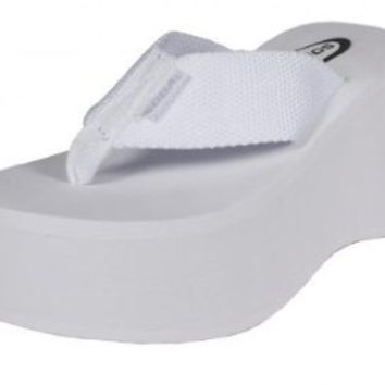 Vacation! By Soda High Platform Wedge Flip-flop Sandals in White EVA