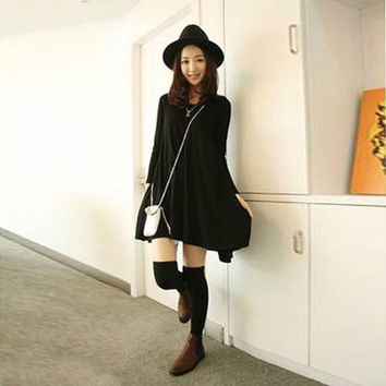 Black Ruffled Long Sleeve Dress