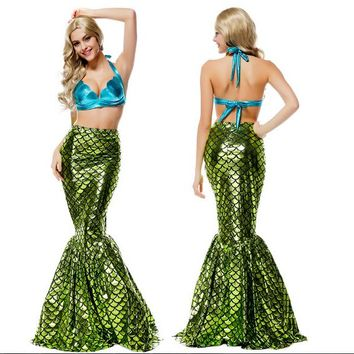shipping skirt+ mermaid cosplay fancy quality princess ariel costume party carnival halloween