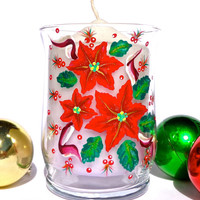 Hand Painted Christmas Candle Holder