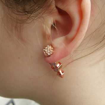 Rosegold pave & spike double sided earrings. Front back. Spike earrings. Faux gauge