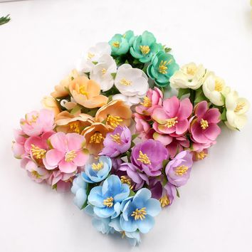 12pcs Silk Artificial Stamens Cherry Blossoms Flowers For Wedding Decoration DIY Decorative Rose Scrapbooking Craft Flores