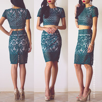 Sexy Love Two-Piece Dress Set - Emerald