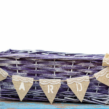 Purple Wedding Basket - Favors Programms Cards Holder - Barn Centerpiece Reception Decor with Cards Banner