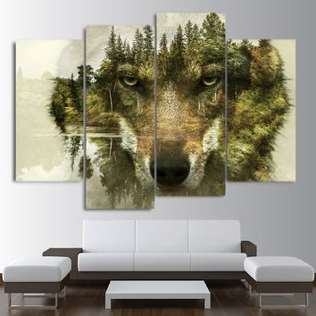 HD printed 4 panel canvas art Abstract animal wolf woods print - wall picture fo