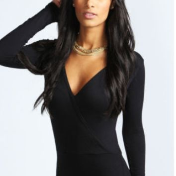 Solid Stretchy Cross Bodysuit