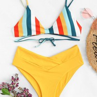 Striped Print Top With Criss  Cross Bikini Set