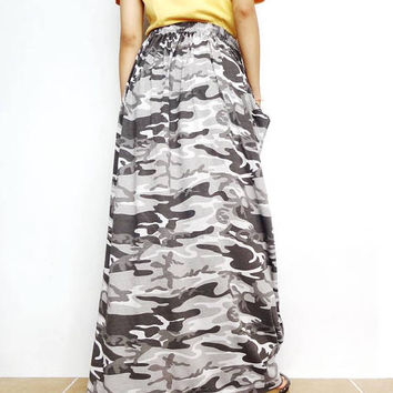Women's Gray Military CAMO Maxi Long Skirt , Casual Gypsy, Bohemian , Cotton Blend (Skirt *M18).