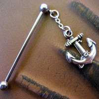 Mini Anchor Industrial Barbell Piercing Scaffold Charm Nautical Chain Dangle