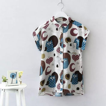 Owl Print Cuffed Short-Sleeve Button Collared Blouse