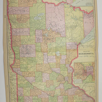 Vintage Minnesota Map Minneapolis MN 1902 Unique Gift Idea for the Home Decor for the Office Gift Under 25 Travel Map Art Wedding Map Prop