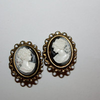 Vintage Earrings Cameo 1950s Jewelry