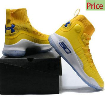 Original 2018 Mens Under Armour Curry 4 Mid Basketball Shoes Sunny Yellow Royal Blue White sneaker