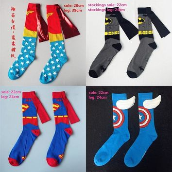 Batman Dark Knight gift Christmas Wonder Woman Captain American Batman Superman Costume Stockings Women Men Knee-High Cosplay Socks Cotton Calf Socks Sports Socks AT_71_6