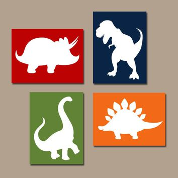 DINOSAUR Wall Art, Canvas or Prints, Baby Boy DINOSAUR Nursery Decor, Big Boy Bedroom Pictures, DINO Theme Decor, Set of 4 Wall Decor