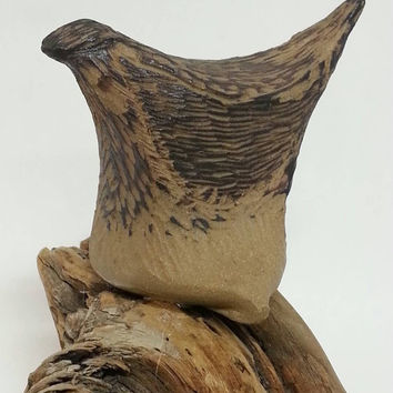 Brown Ceramic Bird, Brown Sculpted Bird, Bird on Driftwood by Michele Patton