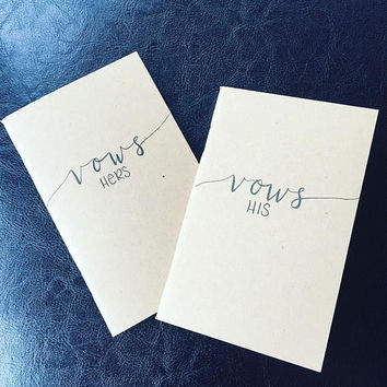 "His and Hers Vow Books//Wedding Memory//Vows Journal//3.5x5.5"" Kraft Brown Paper Cover//Hand Lettered"