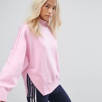 adidas Originals High Neck Sweatshirt In Pink at asos.com