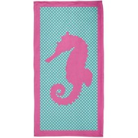 DCCKJY1 Pink Seahorse Polka Dot All Over Plush Beach Towel