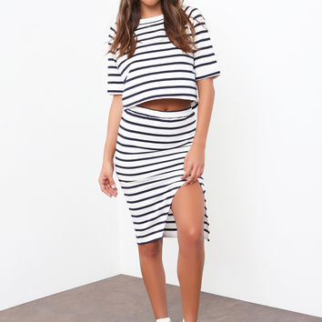 Stripe Maxi Split Skirt by Minkpink