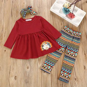 3Pcs Toddler Infant Baby Girls Turkey Dresses Pants Thanksgiving Day Outfits Set  autumn winter girls dresses #25