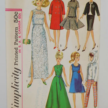 Simplicity Printed Pattern 6208 (c. 1965) Clothes for Teen Model Dolls, Annette, Barbie, Midge and So Many More, Formal Wear, Coat, Dress