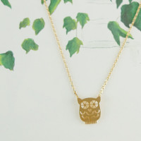 owl necklace in gold / silver