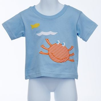 Dapper Dude Blue Knit T-shirt with Smiling Crab Appliqué