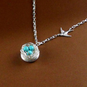 Locket Robin Egg Bird Nest Silver Necklace Long Chain