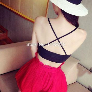 DCCKJG2 Sexy Women Girl Cross Back Bandage Wrapped Cami Tank Crop Top Chest Bra Strappy Bralette BLOUSE