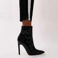 Yuri Patent and Faux Suede Pointed Toe Ankle Boots in Black