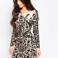 Forever Unique Hollies Heavily Embellished Dress with Long Sleeves