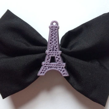 Small Eiffel Tower Hairbow Hair Bow Black France French Paris Cute