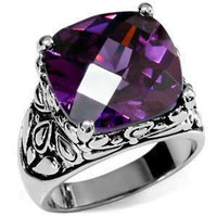 The Duchess – FINAL SALE Cushion cut amethyst cubic zirconia cocktail ring in embellished stainless steel