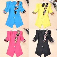 2014 Womens Korea Slim Casual Floral Ruffles Suit Blazer Coat Jacket Cardigan F_F