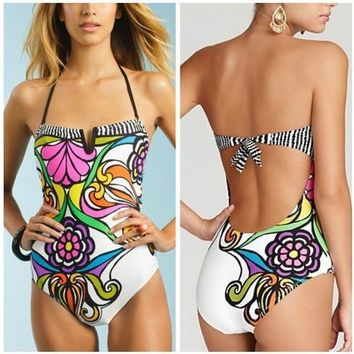 Sexy triangle swimwear one piece floral printing backless triangle swimwear swimming suits bathing suits
