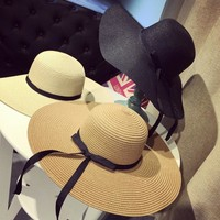Foldable Wide Ribbon Bow Women's Sun Hat