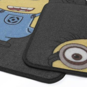 BDK Despicable Me Minions Car Floor Mats-4 PC Auto Floor Mats, Front Rear Full Set, Universal Fit, WB Official Products
