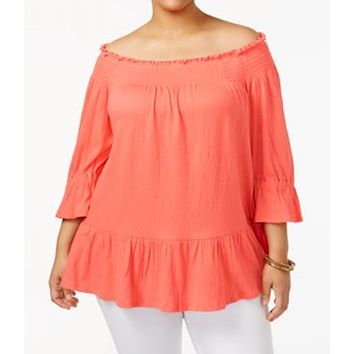 NY Collection Women's Stretch Orange Off-The-Shoulder Blouse Top Plus 1X