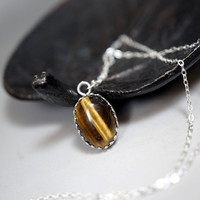 Sterling Silver Tiny Tiger's Eye Choker - Crown Tiger's Eye Necklace Silver - Si